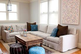 comfy cozy family room design with soft sky blue walls paint