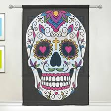 Amazon WOZO Custom Mexican Sugar Skull Sheer Panel Pair