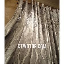 Luxury Grey Curtains Luxury Fabric Gray And Silver Tassels Striped Curtains