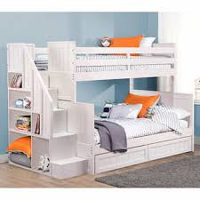 White Bunk Bed With Stairs Ryan White Twin Over Double Bunk Bed With Universal Staircase