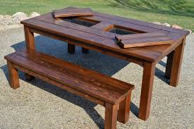 Plans For Picnic Table With Attached Benches by Remodelaholic Building Plans Patio Table With Built In Drink