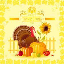 vector illustration of autumn thanksgiving greeting card with
