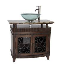 varnished oak wood vanity with double black stone vessel sinks