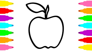 learn colors with drawing and coloring pages apple for kids