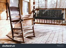 Rocking Chairs On Porch Wooden Rocking Chair On Porch Deck Stock Photo 362844851