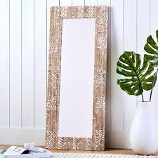 carved wood floor leaning mirror pbteen