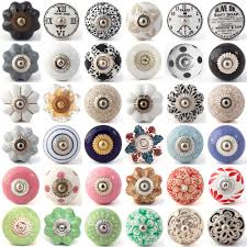 multi coloured ceramic knobs drawer pull cupboard door knobs