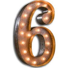 marquee numbers with lights vintage marquee lights 24 number 6 decorative light rust vml 6