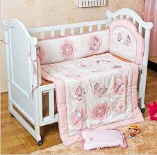Nursery Crib Bedding Sets Promotion 6pcs Embroidery Baby Bedding Set Baby Quilt