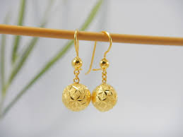 gold earrings design with weight thai 18k gold earrings