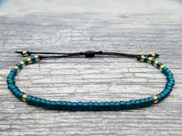 bead string bracelet images Teal seed bead friendship bracelets adjustable teal beaded bracelet jpg
