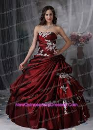 burgundy quince dresses white appliques burgundy strapless quinceanera gown 168 32