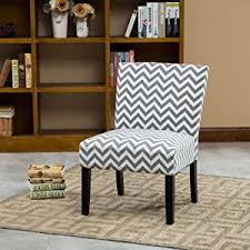 Armless Accent Chair Roundhill Furniture Botticelli Grey Wave Print Fabric