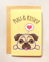 punny valentines day cards pugs and kisses greeting card 4x6 note card s day