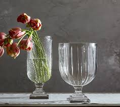 Footed Glass Vase Alice Cut Glass Vases Pottery Barn