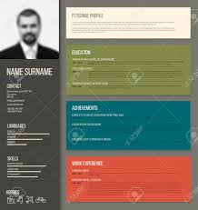 resume template color vector minimalist cv resume template design with profile photo vector minimalist cv resume template design with profile photo retro color version stock vector