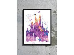 castle watercolor art print disney castle nursery disney birthday