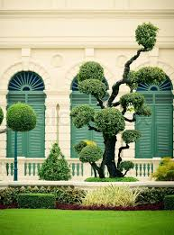 lawn with decorative trees in grand palace bangkok thailand