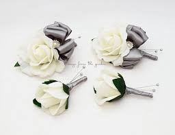 white boutonniere white silver grey real touch wedding boutonniere wedding