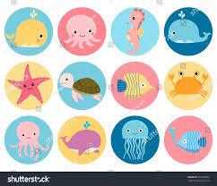 cute vector sea animals icons color stock vector 691350937