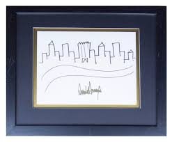 hand drawn trump sketch of new york city skyline up for auction