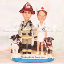 fireman cake topper firefighter and dogs wedding cake toppers