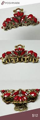 gold medal hair new hair claw clip red gold metal claw clip hair claw and red