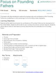 focus on founding fathers lesson plan education com