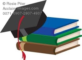 graduation books clip illustration of a stack of school books with a graduation cap