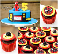 spiderman cake and cupcakes spaceships and laser beams