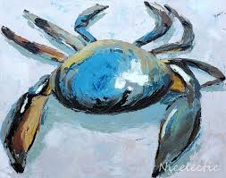 themed artwork blue crab print carolina themed coastal