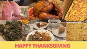 thanksgiving day dinner turkey spiral ham corn bread