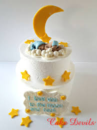 moon cake topper moon and fondant sleeping baby baby on cloud baby shower