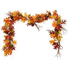 fall harvest cordless pre lit 6 garland at brookstone buy now