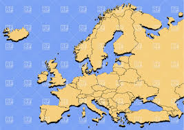Europe On Map by Map Of Europe On A Blue Background Vector Image 27353 U2013 Rfclipart