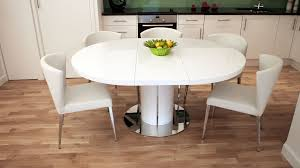 Round White Gloss Extending Dining Table Pedestal Polished Steel - Extendable kitchen tables