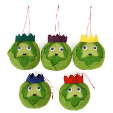 felt brussels sprout decorations set of 5 christmas tree