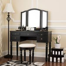 Black Vanity Table Black Dressing Set With Stool Beauty Station Makeup Table Three