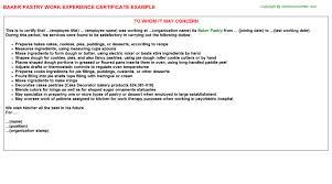 Sample Resume For Baker by Baker Pastry Work Experience Certificate