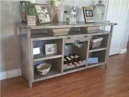 gray buffet table as kitchen island