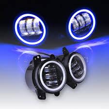 jeep headlights at night amazon com omotor jeep wrangler 60w 4 inch round cree led fog