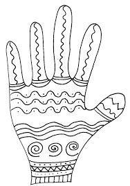 Imprimer le coloriage de la main vagues  Tête à modeler