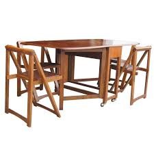 Wood Folding Dining Table Vintage 68 Wood Folding Dining Table With Four Chairs Set At 1stdibs
