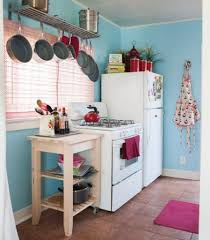 white appliances for small kitchen with pink shades and soft blue
