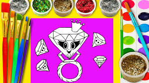 cute diamond ring coloring page for kids to learn to color and