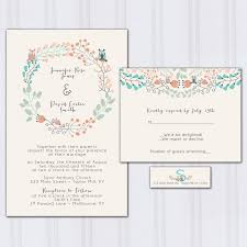 owl wedding invitations floral boho wedding invitation aqua blue