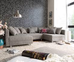 couch mit hocker couch clovis hellgrau strukturstoff mit hocker wohnlandschaft