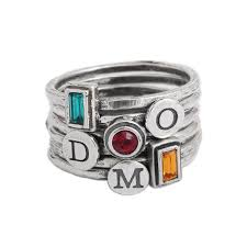 design your own silver stackable rings with initial and birthstone