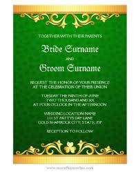 elegant st patrick u0027s day wedding invitation with golden borders
