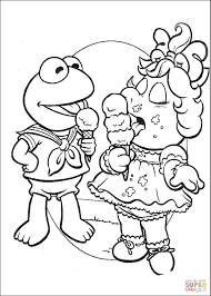 baby kermit and miss piggy are eating ice cream coloring page